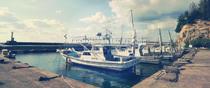 島根県江津市黒松町 黒松港の漁船